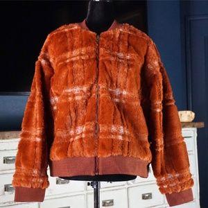Anthropologie Plaid Teddy Faux Fur Jacket New 3X